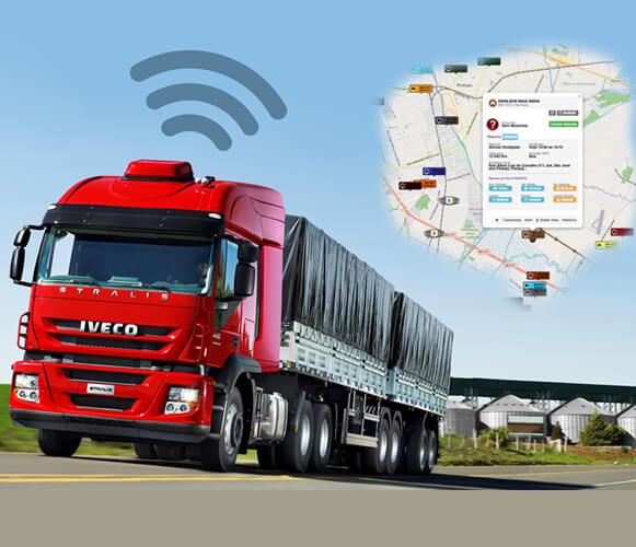 caminhão com sinal de rastreamento e tela de roterizador