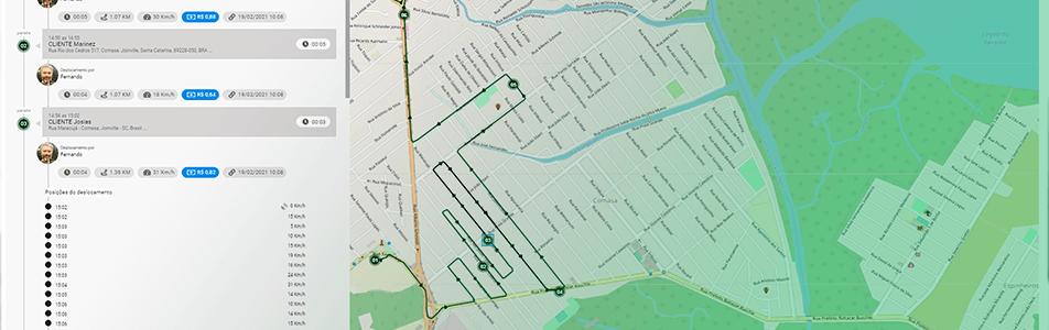 Imagem da tela de histórico do dia - Sistema de rastreamento ideal